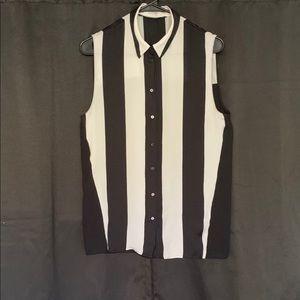 Zara Basic Black And White Striped Blouse